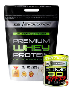 Whey Protein 3 Kg Star Nutrition + Pump Ripped 315 Gr