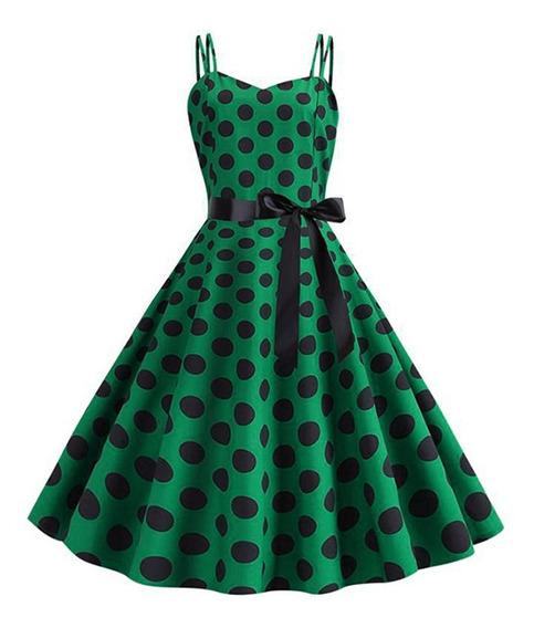 Vestido Vintage Estampado De Lunares Para Las Mujeres S-2xl