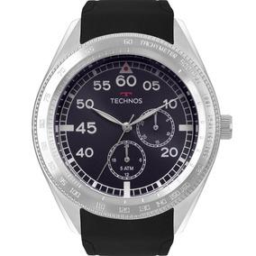 Relógio Technos Masculino Preto Prata Promoção Nfe 6p22af/8a