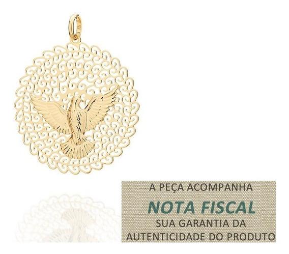 Pingente Espírito Santo Pomba Rommanel Folh Ouro 18k 541526