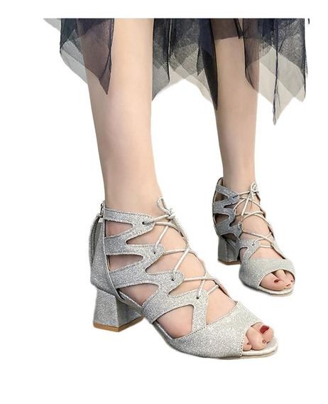 Moda Feminina Glittering Sandálias De Salto Alto
