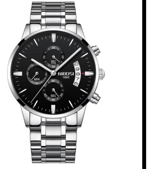 Relógio Nibosi Luxo Top, Aço Inox A Prova D