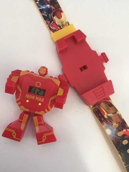 Relógio Infantil Marvel Vira Boneco Do Homem De Ferro