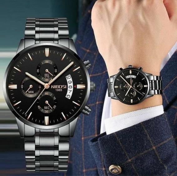 Relógio Nibosi Original Preto Masculino Prova Dágua 100%