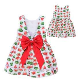 Vestido Infantil De Algodão Melancia 01 Ao 06 Anos