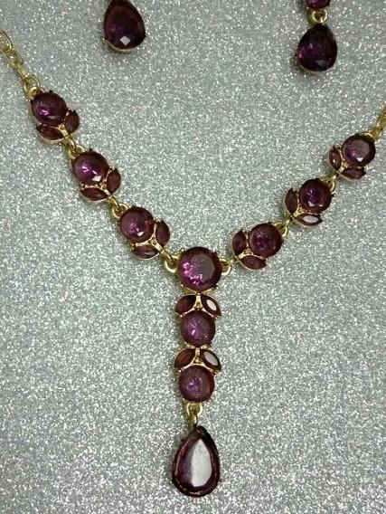 Conjunto Feminino Cristal Rhinestone Folheado Ouro Púrpura