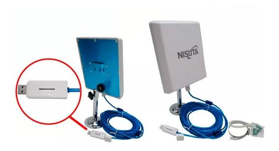 Antena Wifi Cpe Nisuta Placa Usb 2000mw 12dbi 5km Cable 9.5m