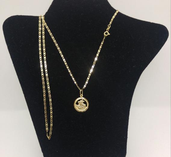 Cordão Piastrine Em Ouro 18 K + Medalha De S.jorge Guerreiro