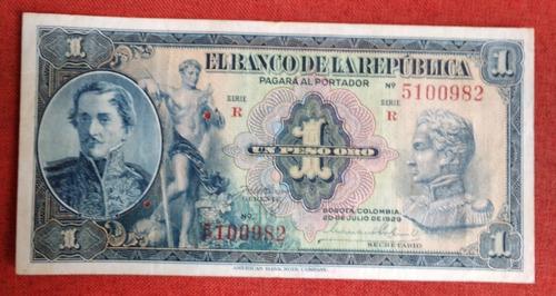 Imagen 1 de 3 de Billete Colombiano Antiguo De 1 Peso, Año 1929, 7 Digitos