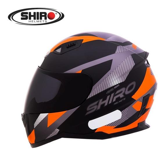 Capacete Shiro-881 Brno Preto Fosco / Laranja Fluorescente