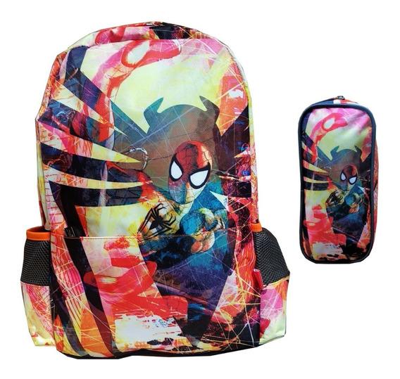 Mochila Backpack Juvenil Spiderman Portalaptop Y Lapicera