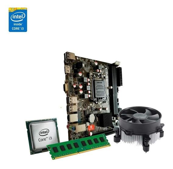 Kit Processador I3 2100 + Placa Mãe H61m + 4gb Ddr3