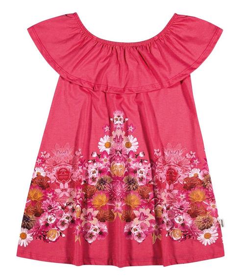 Vestido Infantil Elian Ciganinha Flores Pink