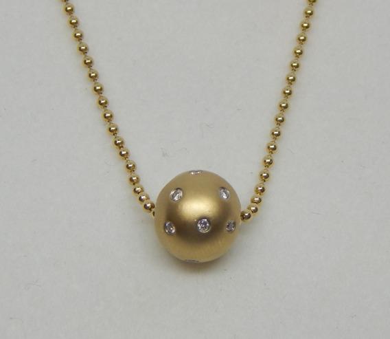 Gargantilla En Oro Amarillo Y Aretes Con Diamantes