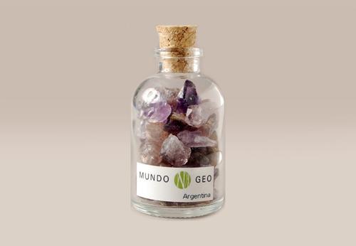 Imagen 1 de 1 de Colección En Vidrio Botella Con Amatista