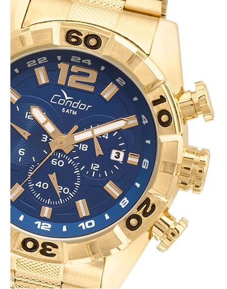Relógio Condor Masculino Covd33aa/4a Dourado Fundo Azul Original