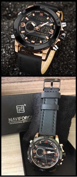Relógio Naviforce Preto E Dourado