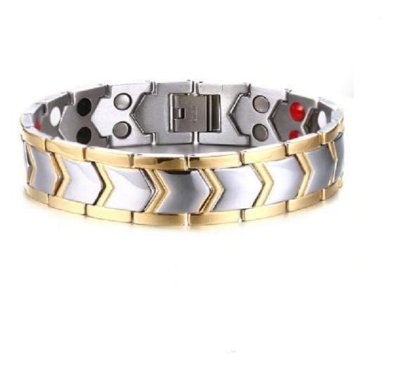 Bracelete Terapêutico Masculino Em Aço Inoxidável Prateado