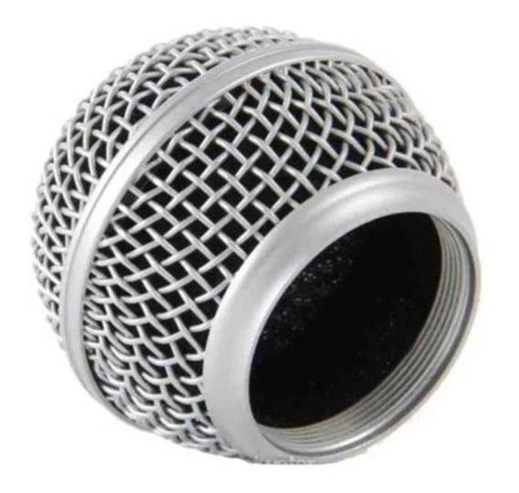 Globo Metálico Para Microfone Prata Mxt