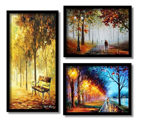 Quadros Arte Impressionista Na Espátula Salas 3 Quadros