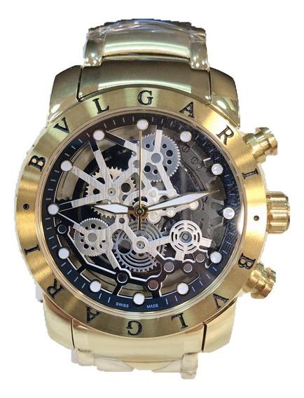 Relógio Bulgari A Prova Dágua Vidro Safira Pronta Entrega
