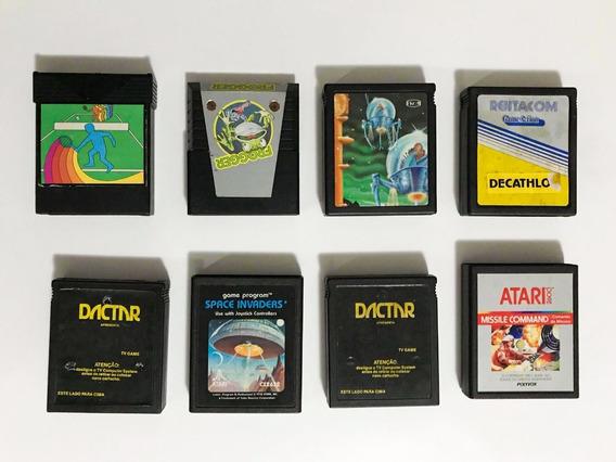 Lote 5 Jogos Atari 2600 Fitas Frogger, Space Invds, Keystone