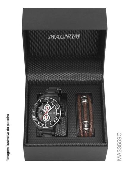 Relógio Magnum Kit Masculino Brinde Pulseira Couro Ma33559c