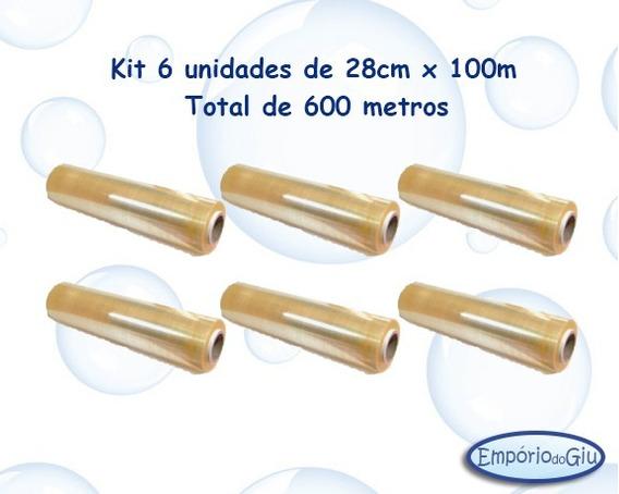 Filme Pvc 28cmx100m ( Kit 6 Unds Total 600 Metros)