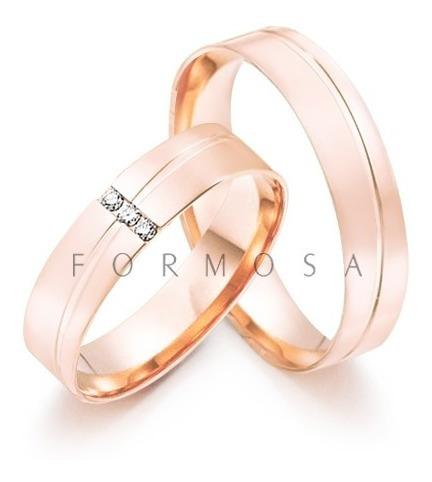 Alianças Prata Banhadas A Ouro Rosé 3 Pedras Friso Diagonal