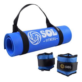 Colchoneta Mat + Par De Tobillera Regulable 1kg Sol Fitness
