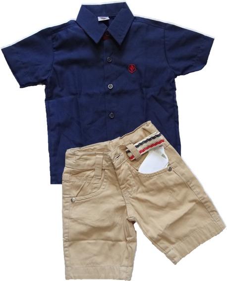 Camisa Infantil Social Masculina Com Shorts Do 02 Ao 08