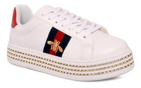 Tênis Flatform Valentina 610001 Branco/vermelho