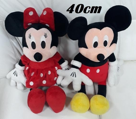 Pelucia Mickey Mouse + Minnie Grande Com 40cm Frete Grátis