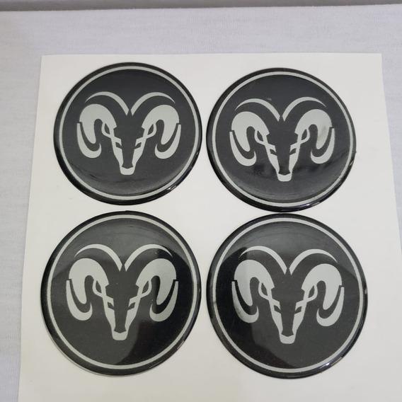 Jogo 4 Emblema Roda Dodge Ram 51 A 90mm Adesivo Resinado