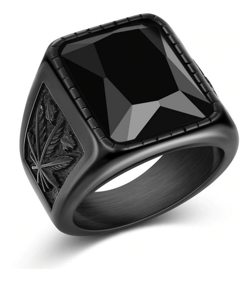 Anel Masculino Luxuoso Preto Black Hip Pedra Negra Tamanho