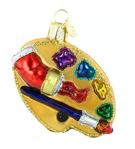 Viejo Mundo De Navidad Del Artista Paleta Vidrio Soplado Orn