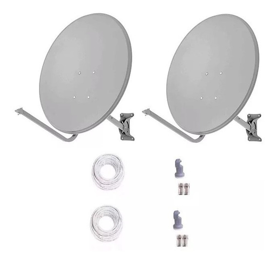 2 Antenas Ku 60cm+ Lnb Duplos+ 40 Metro Cabo Rg59 +conector