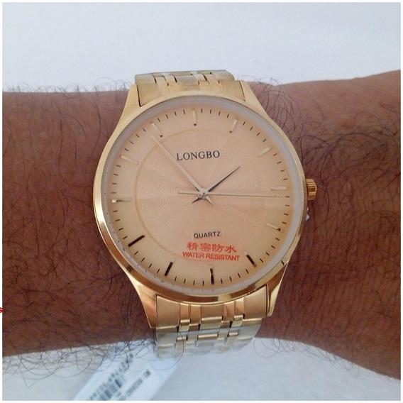 Relógio Masculino Longbo Quartz Slim Original Dourado Vip Luxo Frete Gratis Envio Imediato