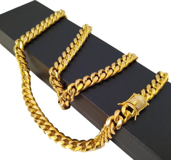 Cadena Eslabón Cubano Oro Laminado 18k Zirconias
