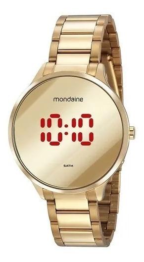 Relógio Mondaine Aço Dourado Redondo Espelhado Digital Lança