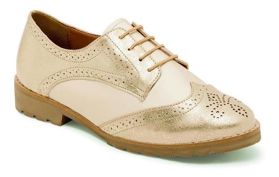 Zapato Casual Estilo Oxford Para Dama Color Oro