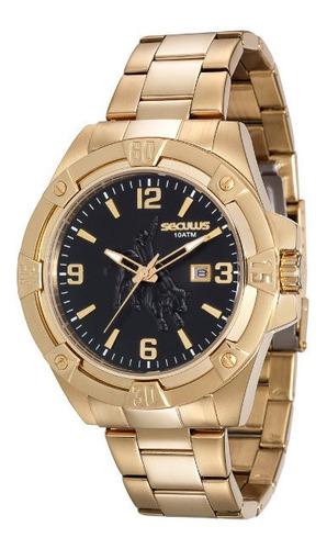 Relógio Seculus Masculino Dourado 10 Atm 20412gpsvda1