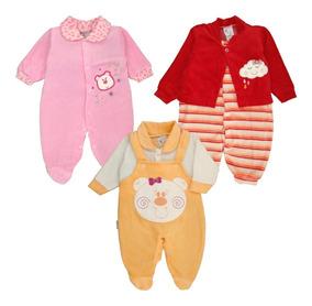 Atacado C/ 3 Macacão Bebê Plush - Meninas Maternidade Outono
