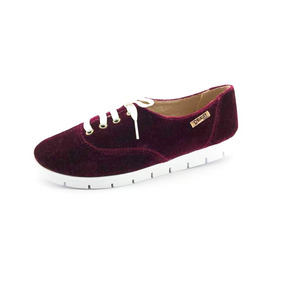 Tênis Tratorado Quality Shoes Feminino 005 Veludo Bordô