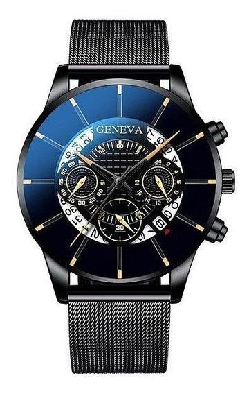 Relógio Masculino Luxuoso Geneva A0635 Original
