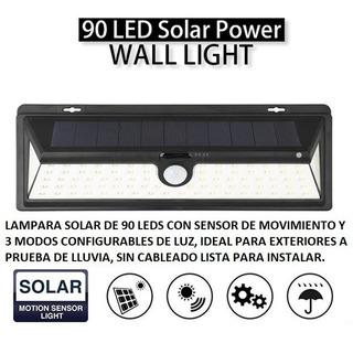 Lampara Solar 90leds Sensor Movimiento Iluminacion Lluvia Ex