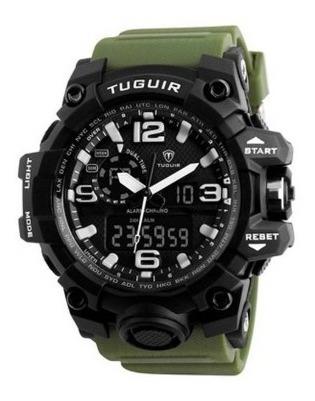 Relógio Masculino Tuguir 1155 Preto/verde Na Caixa Com Nf