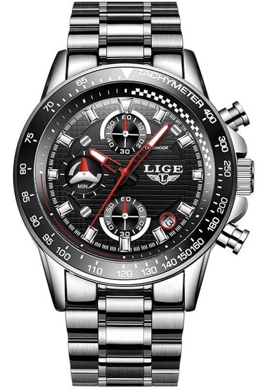 Reloj Casual Cuarzo Hombre Lige 9837 Plata Negro Metal