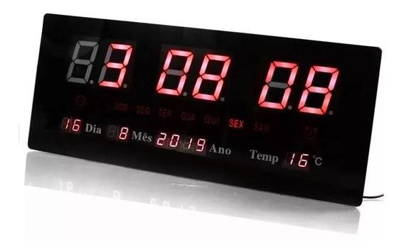 Relógio Parede Digital Led Luatek 3615 Com Data Top