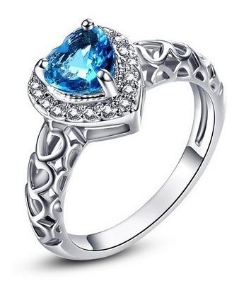 Anel Com Cristal Azul Coração Lindo